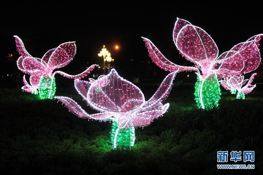 【守望相助七十载 壮美亮丽内蒙古】鄂尔多斯国际创意灯光节照亮夜之美(组图)