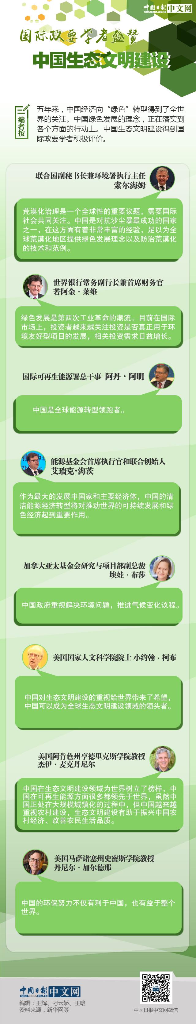 【理上网来•喜迎十九大】国际政要学者盛赞中国生态文明建设