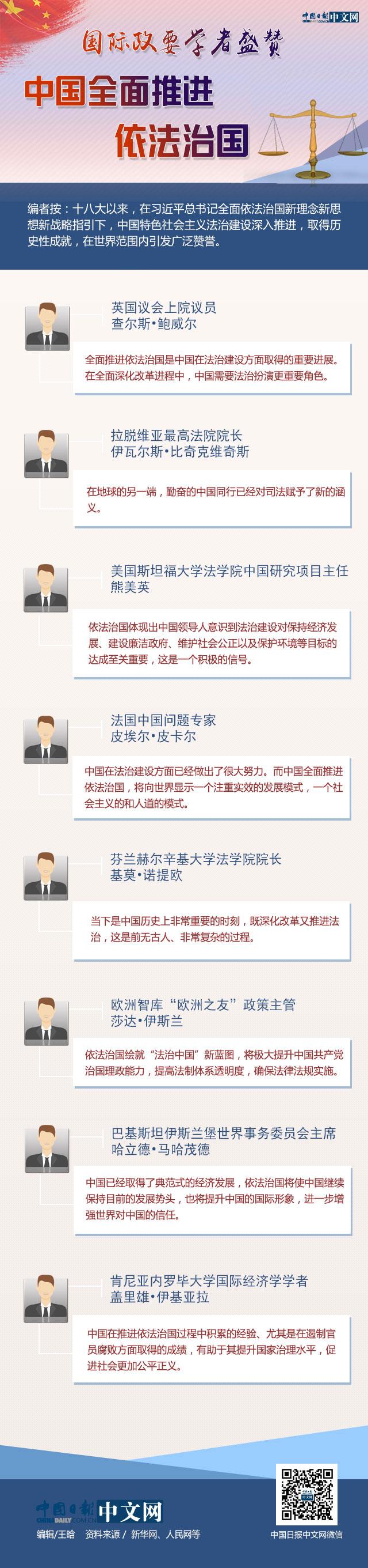 国际政要学者盛赞中国全面推进依法治国